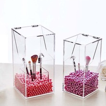 New Fashion Clear Acrylic Cosmetic Organizer Pearl Box Clamshell Makeup Brush Holder Women's Makeup Tool Storage Box No Pearls