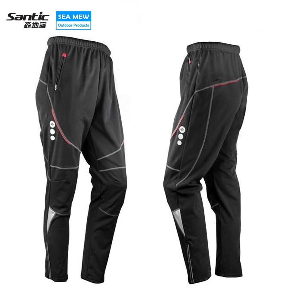 SANTIC Warm 2017 WinterThermal Fleece Cycling Pants Long Bicycle 3D Gel Pad Bike MTB Men Pants Black Ropa Ciclismo<br>