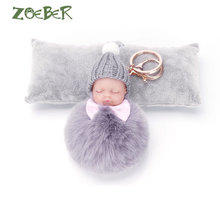 ZOEBER Sleeping Baby Doll Keychain Pompom Rabbit Fur Ball Key Chain Car Keyring Women Key Holder Bag Pendant Charm Accessories(China)
