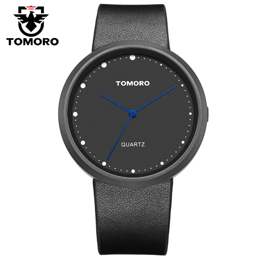 Vogue TOMORO Unisex Fashion Ladies Watches Black Women Watches Style Men Minimalism Genuine Band Casual Male Waterproof Clock<br>