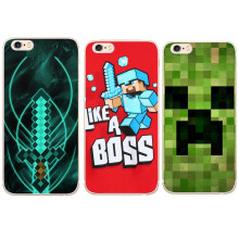 Cute Minecraft like a boss Hard Clear Transparent Phone C Cover for iPhone 5 5S SE 6 6s 6Plus 7 7Plus Fundas Coque