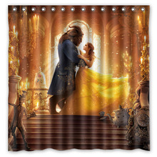 Beauty And The Beast Customized Bath Shower Curtain Waterproof Mildewproof Polyester Fabric Bathroom Curtains 180