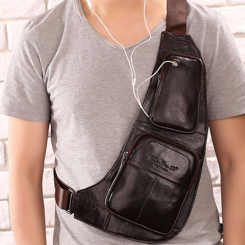 Men Vintage Genuine Leather Travel Riding Motorcycle Messenger Shoulder Sling Day Pack Chest Bag<br><br>Aliexpress