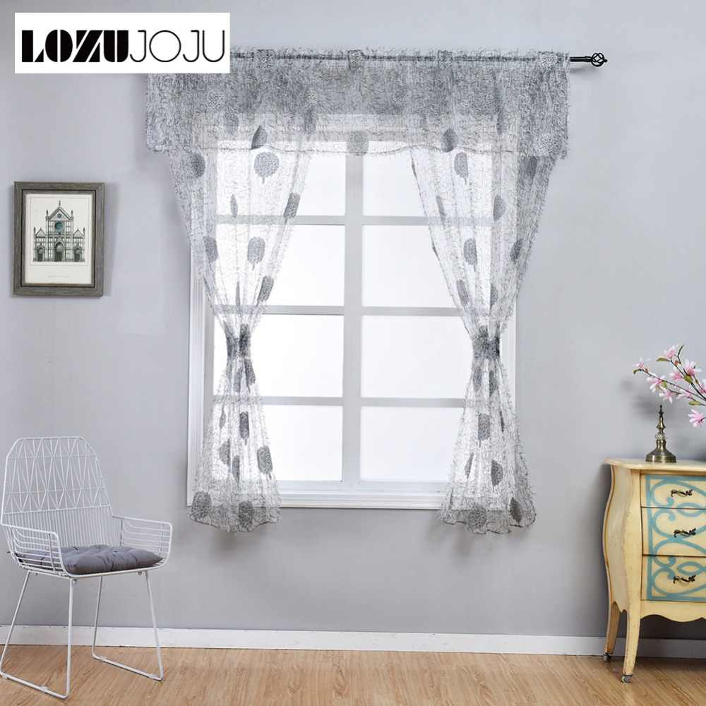 LOZUJOJU Leaf jacquard short drops for kitchen windows transparent tulle curtain special design with valance fabric high quality