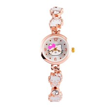 Hello Kitty Watches Fashion 2017 New Ladies Quart Watch Vintage Kids Cartoon Brand women watch 1pcs