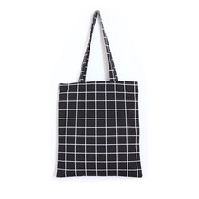 Fashion Female Canvas Beach Bag Simple Plaid Casual Tote Women Canvas Handbag Daily Use Single Shoulder Shopping Bags