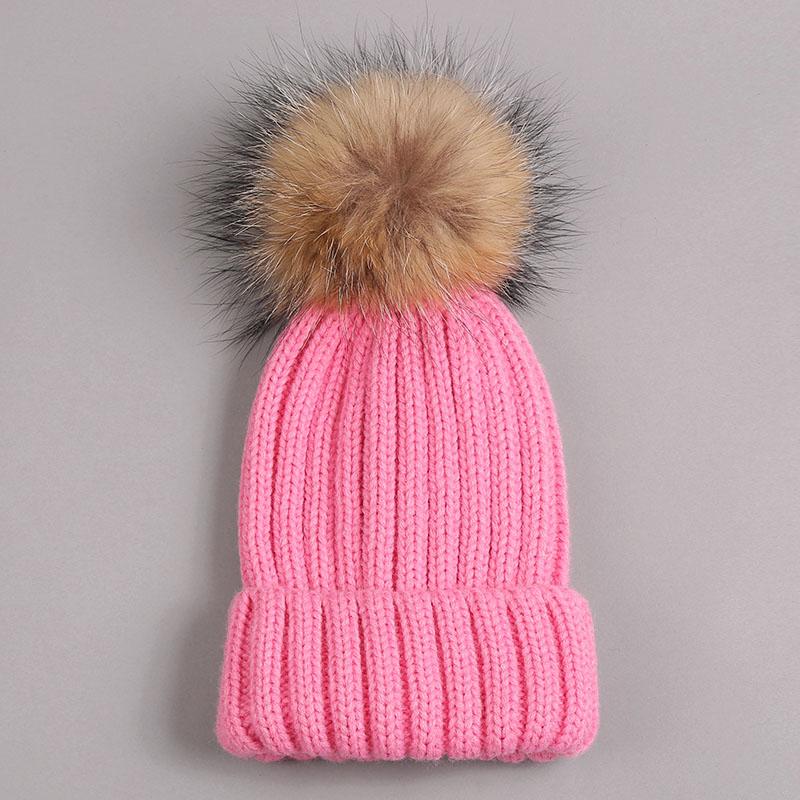 kid hat with fur pompom pink 1