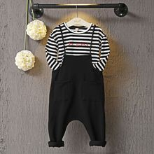 girls autumn clothing set 2016 long sleeve t-shirt +Harem Bib overall 2 pieces cheap boys clothes(China)