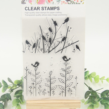 1 sheet DIY Flowers Birds Scrapbook DIY photo cards account rubber stamp clear stamp transparent stamp