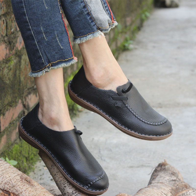 Womens Shoes Flat Hand-made Authentic Leather Slip on Loafers Ladies Flat Shoes Female Spring/Autumn Footwear (500680-4)<br>
