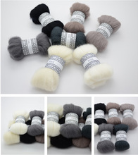 "DIY Needle felt 66s wool felt poke fun soft feeling Wool Tops Roving DIY Spin "" black white & grey animal series"" 10g/7pcs/lot"
