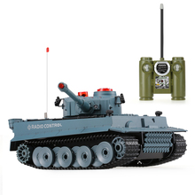 HUAN QI 518 1/24 Scale German Tiger Infrared Fighting RC Battle Tank with Sound and Lights RC Tank Toys