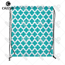 Turquoise Quatrefoil Diamonds Geometry Clover Print individual Nylon Fabric Drawstring Shoes Storage Dust Bag Pack of 4