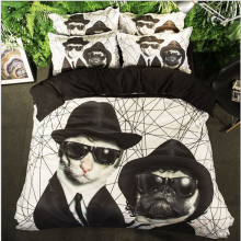 FENEPOVIDA 4Pcs Newly Arrived Lovely Cartoon Cool Dog Black Boy Bedding Set Comfortable Duvet Cover Set Pillowcase A288