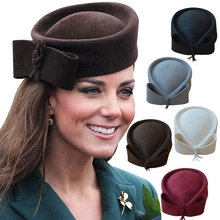 Fedoras Hat Women Fascinator Hat Teardrop Dome Top Bowknot Fancy Wool Pillbox Hat for Lady Cocktail Racing Party Wedding Church(China)