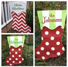 100pcs/lot personalized high quality outdoor decoration Christmas stocking garden flag wholesale monogram popular Christmas gift
