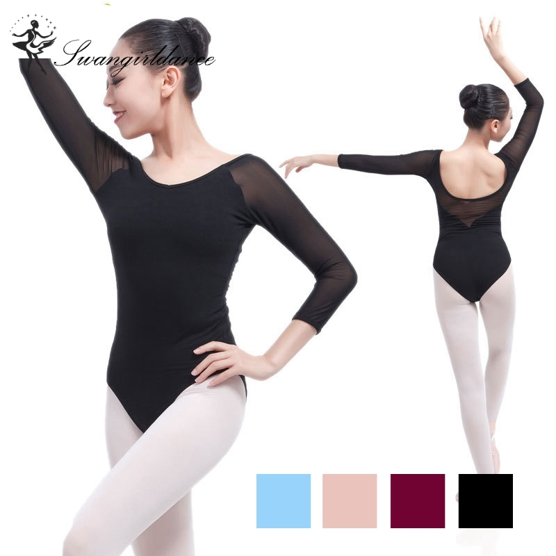 Latest black girls adult 3/4sleeve mesh sexy gymnastics dance leotards women ballet costumes with V back CS0328
