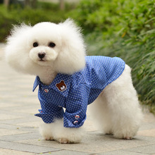 2017 New Clothes For Pet Dogs Coat Jacket Goods for pets Blue and white point pet shirt Teddy dog spring and summer 05