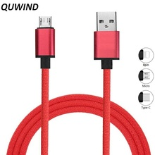 Buy QUWIND Micro Usb Type C Data Charging USB Data Cable 1M iPhone 6 6S 7 8 X iPad Samsung HuaWei XiaoMi Android Phone for $1.07 in AliExpress store