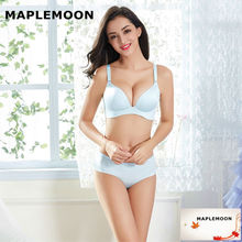 Pearl light blue Ladies Sexy underwear push up young women Bra & Brief Sets Wire free one piece gather bras thin V Dropshipping