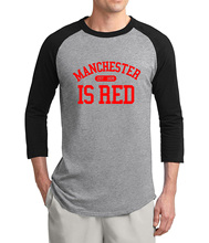 2017 summer The United Kingdom Manchester is red 3/4 sleeve t shirt men new arrival cotton raglan men t-shirt hip hop top tees