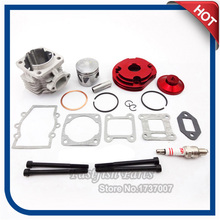 44mm Cylinder Racing Big Bore Kit Set 2 Grooves Red For 47cc 49cc Mini Moto Dirt ATV Pocket Bike Minimoto