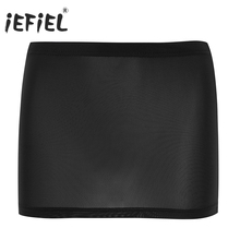 Buy iEFiEL Brand Hot See-through Women Lingerie Sheer Mini Skirt Costumes Party Wetlook Clubwear Sexy Women's Evening Clubwear