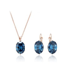 2017 Wedding Rose Gold Color Jewelry Sets Big CZ Zircon Blue Stone Pendant Choker Necklace Earrings For Women Mother's Day Gift(China)