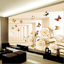 Beibehang 3 d custom wall paper wallpaper images of modern romantic recent luxurious sitting room 3 d mural wallpaper pictures(China)