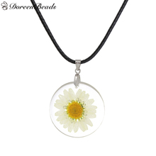 "DoreenBeads Handmade Boho Transparent Resin Dried Flower Daisy Necklace White Round About 46cm(18 1/8"") long, 1 Piece(China)"