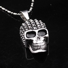 CHIMDOU Gothic Punk Retro Style Men Stainless Steel Skull Pendant Necklace Chain Man Jewelry Wholesale,Free Shiing,AP825