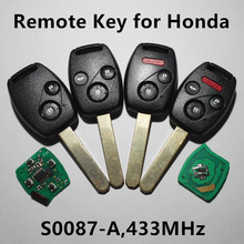 Remote Key 433MHz for Honda Civic Stream Car Entry Control (Model Number: Valeo S0087-A)