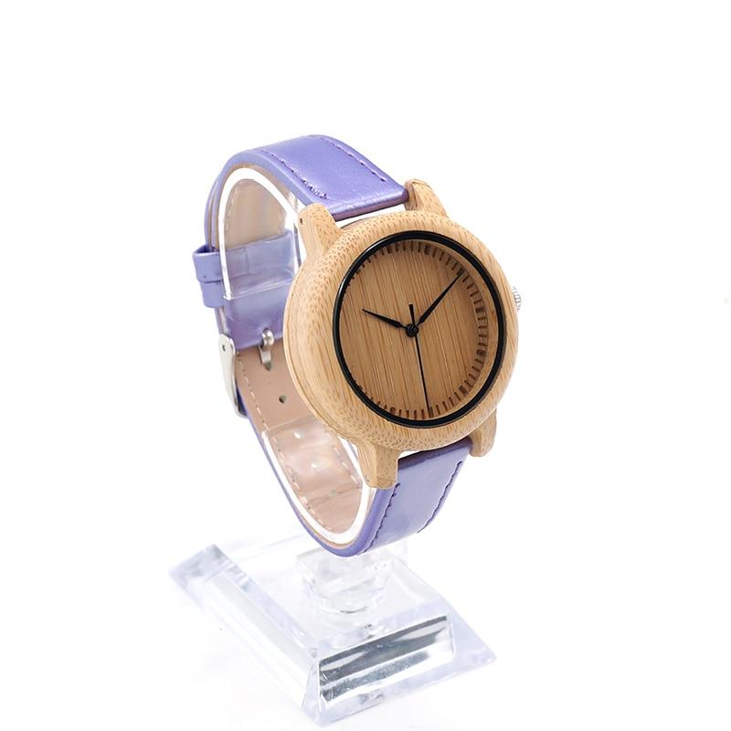 BOBO BOIR Womens Bamboo Wooden Watch Lady Quartz Wristwatch with PU colorful Bracelet Band zegarek damski<br><br>Aliexpress