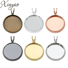 XINYAO 10pcs Copper Necklace Pendants Blank Base Fit 10 12 14 16 18 20 mm Photo Glass Cabochon Cameo Settings Jewelry Making(China)