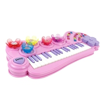 Cartoon Flower Multi-function Electronic Organ Keyboard Piano Children Musical Instrument Educational Baby Toys 2709 - Pink