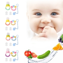Buy Set Baby Care Teether Fruits Vegetables Feeder Chain Silicone Biting Soother for $4.09 in AliExpress store