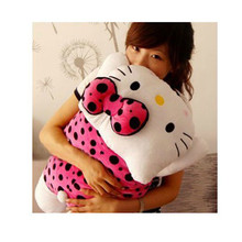 Free Shipping 2017 Kawaii 70X40cm Black Dots Pink Dress Hello Kitty Plush Baby pillow Christmas Gift For Kids,Plush pillow