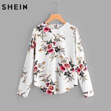 SHEIN Flower Print Keyhole Back Curve Hem Casual Blouse Fall 2017 Fashion Multicolor Long Sleeve Women's Floral Autumn Blouse(China)