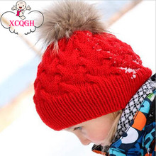 XCQGH Pom Children Winter Hat For Girls Hat Knitted Beanies Cap Brand New Thick Baby Cap Baby Girl Winter Warm Hat(China)
