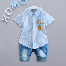 Summer Boys Denim Jeans Shorts + Short Sleeve Lapel Collar NO 8 Shirt Tops Kids Clothing Baby Sets 2Pcs Suits roupas de bebe(China)