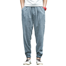 Summer Harlan Linen Pants For men Full Length solid Lightweight Linen Cotton Men's Loose Pants Linen Trousers Asian size S-5XL