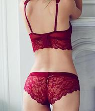 Women's Sexy Bra Set Ultra-thin Red Lace Bra Brief Sets Plus size Brassiere Push up Bra and Panties Female Underwear