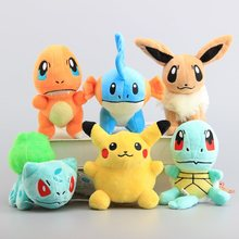 Free Shipping 6 Pcs/Set Pikachu Eevee Mudkip Plush Toys Cute Charmander Squirtle Bulbasaur Stuffed Soft Dolls 14-18 CM