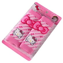 one pair Universal Safety Belts cover pink bowkont Styling Hello kitty Car seat belts covers Universal Interior or Accessories
