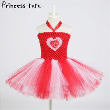 Red Girl Tutu Dress Heart Pattern Princess Dress Mother's Day Valentine's Day Costume For Kids Clothes Girls Party Dresses W182(China)