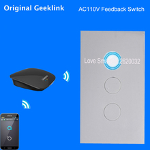 New Geeklink US 118 Two-way Feedback Switch WIFI Touch Remote Control 1gang 2gang 3gang AC110V 10A for RemoteBox 3S Thinker APP