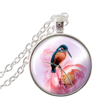 Tropical bird necklace women accessories Hummingbird jewelry silver chain statetement necklace glass cabochon pendants wholesale(China)