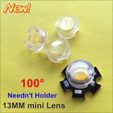 100pcs 13mm IR LED mini Lens 100 Angle Degree transparent lenses No Holder 1W 3W High Power Diode Reflector Collimator