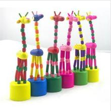 1PCS Hot Sale New Arrival Baby Funny Wooden Toys Developmental Dancing Standing Rocking Giraffe Animal Toys Multi Color