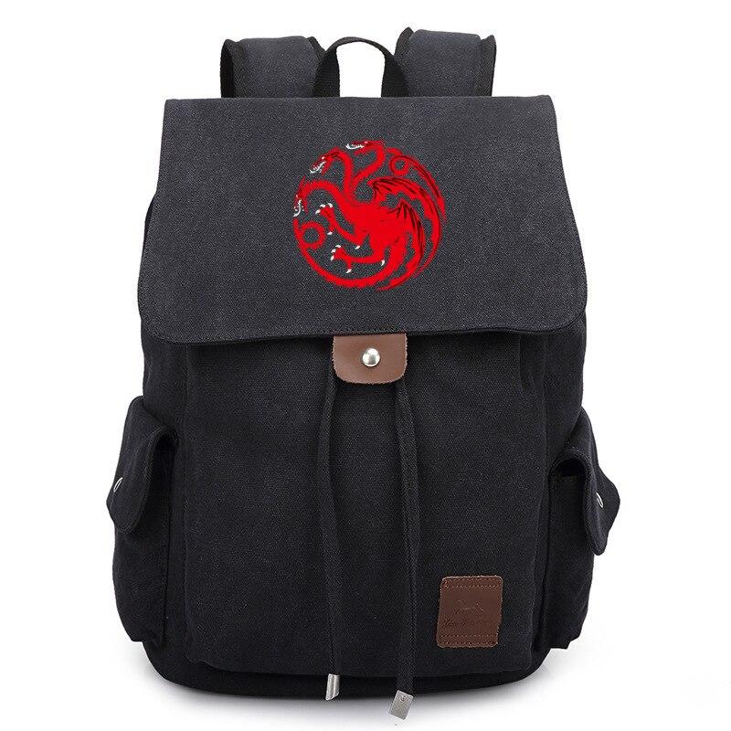 Fashion TV Show Game of Thrones Black Backpack School Shoulder Bag Travel Bag<br>